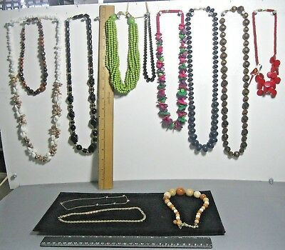 Lot 12 vintage necklace mixed styles & materials #10