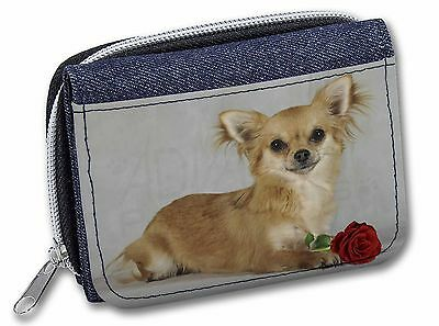 Chihuahua with Red Rose Girls/Ladies Denim Purse Wallet Christmas Gif, AD-CH6RJW