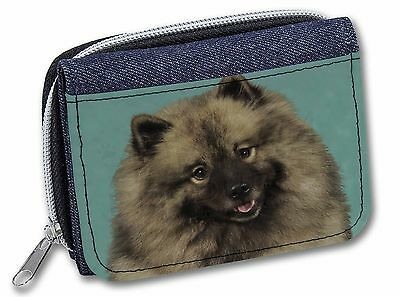 Keeshond Dog Girls/Ladies Denim Purse Wallet Christmas Gift Idea, AD-KEE1JW
