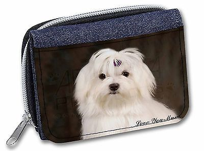 Maltese Dog 'Love You Mum' Girls/Ladies Denim Purse Wallet Christmas, AD-M1lymJW
