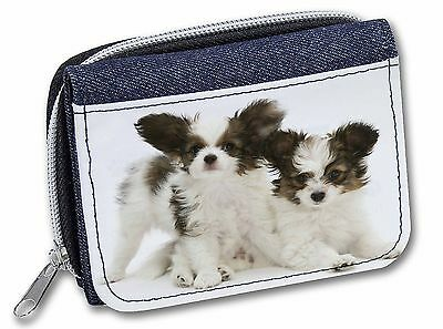 Papillon Dogs Girls/Ladies Denim Purse Wallet Christmas Gift Idea, AD-PA65JW
