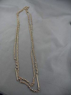 "Vintage Necklace Goldtone 54"" Opera Length Chain Bars Beads Links"