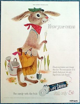 1953 Life Savers Pep O Mint Hard Candy Rabbit Garden Know Your Onions ad