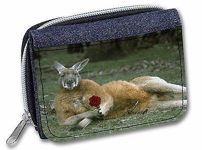 Kangaroo with Red Rose Girls/Ladies Denim Purse Wallet Christmas Gift I, AK-1RJW
