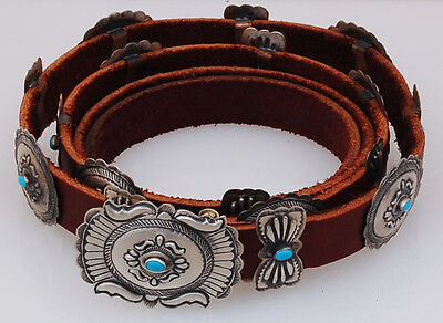 Native American Navajo Handmade Concho Belt with Turquoise