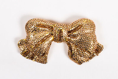 Kathrine Baumann Gold Copper Tone Rhinestone Embellished Bow Belt Buckle