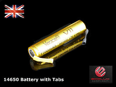 14650 1050mAh 3.7v Li-Ion Rechargeable IMR Replacement Battery with Tab's Tag's