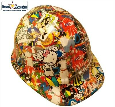 NEW! Hydro Dipped Cap Style Hard Hat w/ Ratchet Suspension - Sticker Bomb 2