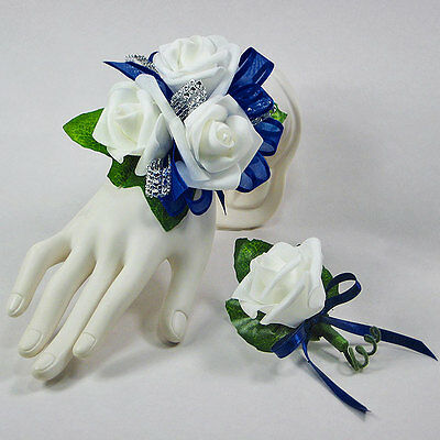 Navy Blue White Rose Wrist Corsage Combo