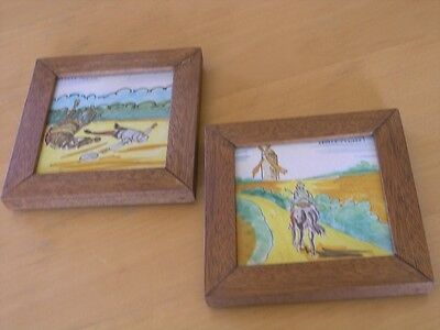 2 Fantastic Framed Antique Vintage Spanish Tiles Ceramica Santa Ana Don Quixote