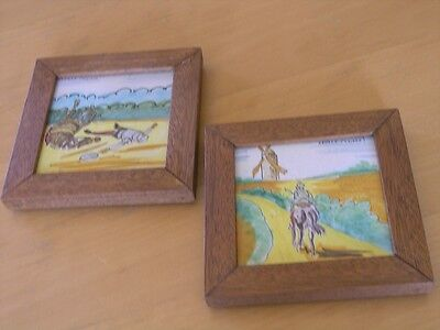 2 Framed Hand Painted Antique Spanish Tiles Ceramica Santa Ana Don Quixote