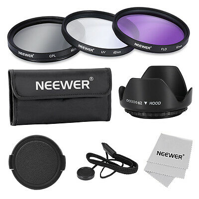 Neewer Professional 62mm Filter Kit (UV-CPL-FLD) Set for Canon Nikon Sony