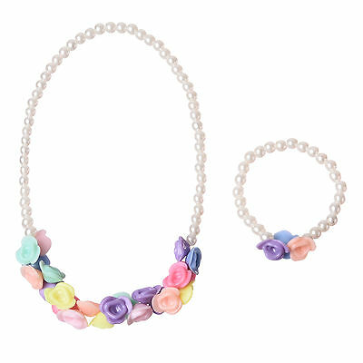 Acrylic Beaded Necklaces Bracelets Kids Jewellery Sets Spring Color With Pearl
