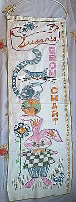 Lovely cross stitch Vintage Growth chart Susan cat bunny bird rabbit embroidered