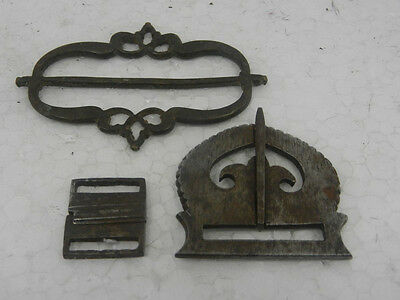 1930's 3 Pc Old Very Fine Iron & Brass Mughal Unique Handcrafted Belt Buckles