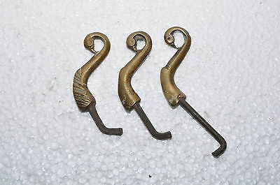 Old Iron & Brass 3 Pc Handcrafted Peacock Head Pegs / Hooks