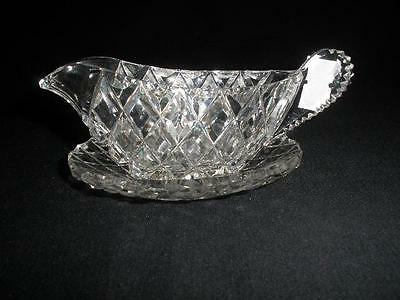 Beautiful Patterned Glass Sauce Jug With Tray