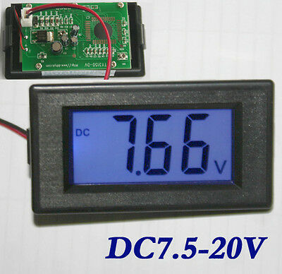 Blue LCD Digital Voltage Volt Meter Voltmeter Panel DC 7.5V-20V HK Post
