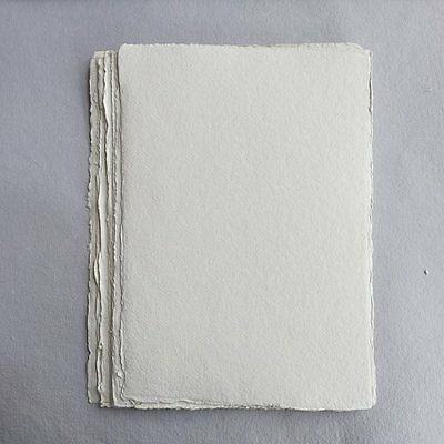 Khadi White Cotton Paper Pack 640gsm A4 50 Sheets. Artists Handmade Paper.