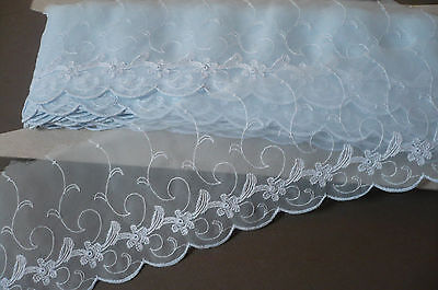 Vintage Swiss Cotton Embroidered Organza. 90mms. x  2 Metres