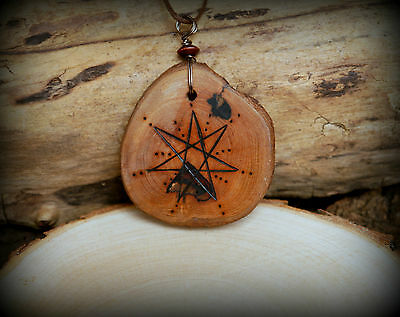 Hawthorn Wood Faerie Star Necklace with Pouch Talisman Wiccan Pagan Fey Elf