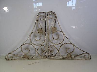 2 Vintage Wrought Iron Porch Brackets w/Leaf Design #2