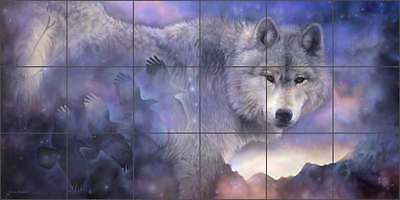 Wolf Tile Mural Taylor Wildlife Native Art Ceramic Backsplash JTA011