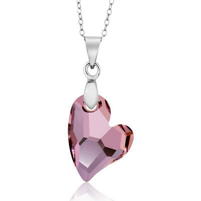 Antique Pink Heart Pendant Necklace with Chain Created with Swarovski® Crystals