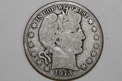 1913 S Very Good Barber or Liberty Half Dollar 90% silver coin (BARH747)