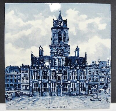 "Delft Tile Stadhuis Town Hall Dutch 6"" x 6"""
