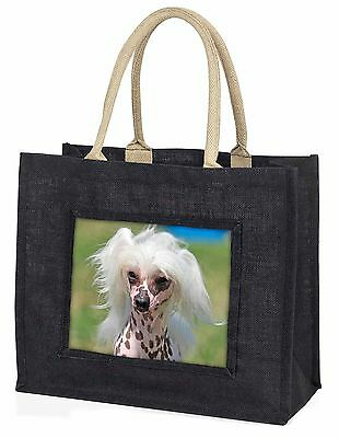 Chinese Crested Dog Large Black Shopping Bag Christmas Present Idea , AD-CHC4BLB
