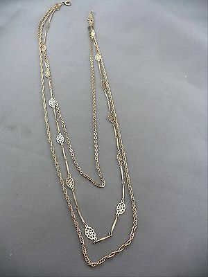 "Wonderful Vintage 20"" Silvertone 3 Different Style Strands Floral Necklace"