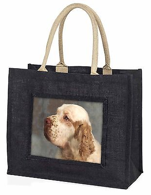 Clumber Spaniel Dog Large Black Shopping Bag Christmas Present Idea  , AD-CS1BLB