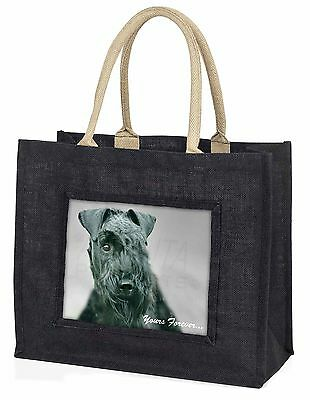 Kerry Blue Terrier 'Yours Forever' Large Black Shopping Bag Christma, AD-KB1yBLB