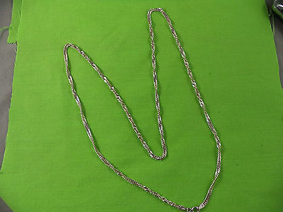 Vintage Twist Curb Chain Necklace Sterling Silver 24""