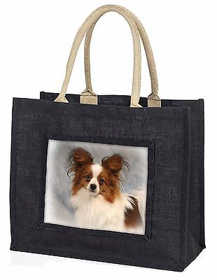 Papillon Dog Large Black Shopping Bag Christmas Present Idea      , AD-PA1BLB