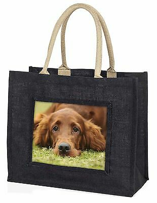Irish Red Setter Puppy Dog Large Black Shopping Bag Christmas Present, AD-RS2BLB