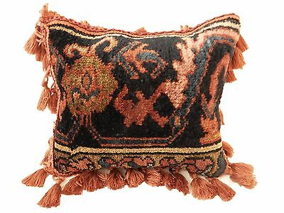 "SUPERB ANTIQUE SAROUK RUG PILLOW FRAGMENT 12"" by 12"""