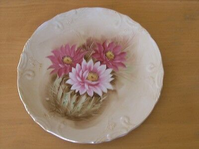 Antique Victorian Style HP Floral Chrysanthemums Plate Wall Hanger Raised Detail