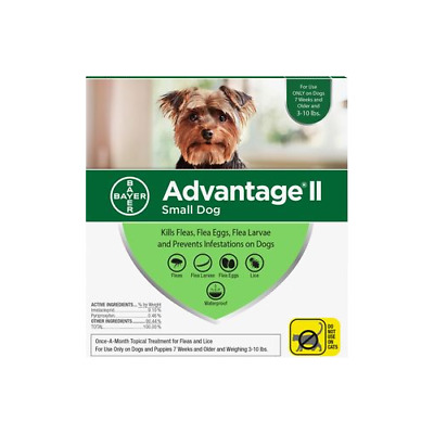Advantage II For Small Dogs 3-10 lbs, Green 4 Pack
