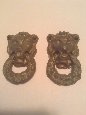 2 Antique Lion Drawer Pulls Knobs #1025
