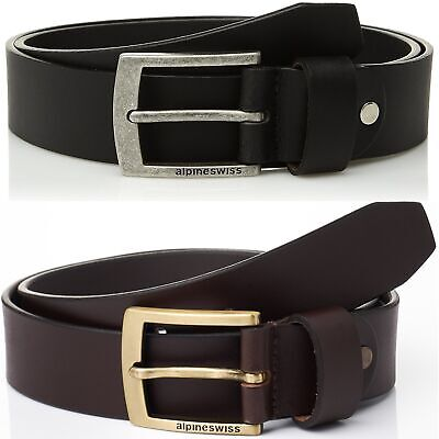 "Alpine Swiss Men's Leather Belt Slim 1 1/8"" Casual Jean Dakota Signature Buckle"