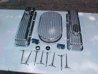 vintage style finned polished aluminum SBC short valve covers,aircleaner rat rod