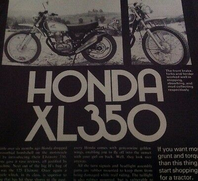 4 Pages Vintage Road Test And AD Motorcycle Literature 1974 Honda XL350 Enduro