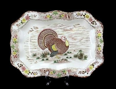"Vintage Hand Painted Ceramic Japan Rectangular Turkey Holiday Platter 20.5"" L7Y"