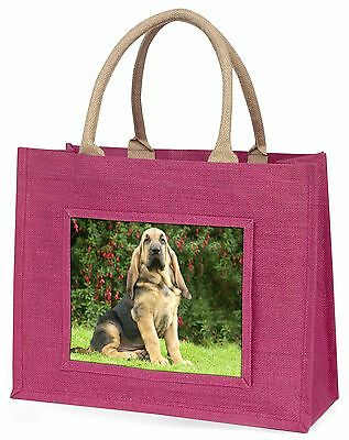Bloodhound Dog Large Pink Shopping Bag Christmas Present Idea, AD-BL1BLP