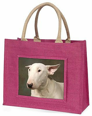 Bull Terrier Dog Large Pink Shopping Bag Christmas Present Idea, AD-BUT1BLP