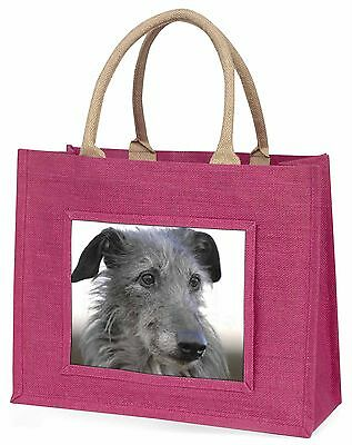 Deerhound Dog Large Pink Shopping Bag Christmas Present Idea, AD-DEH1BLP