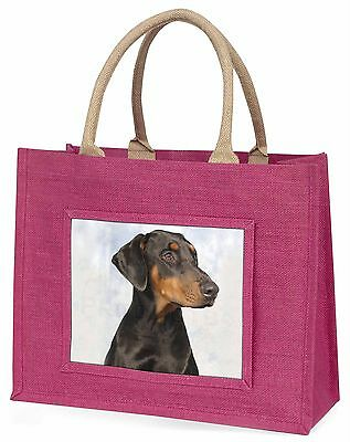 Doberman Pinscher Dog Large Pink Shopping Bag Christmas Present Idea, AD-DM1BLP