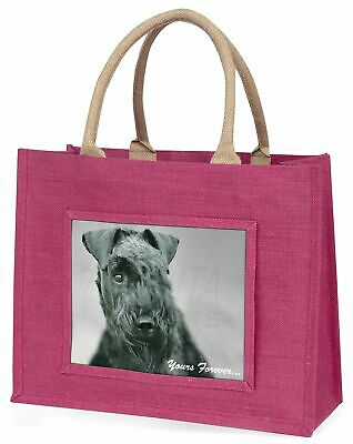 Kerry Blue Terrier 'Yours Forever' Large Pink Shopping Bag Christmas, AD-KB1yBLP